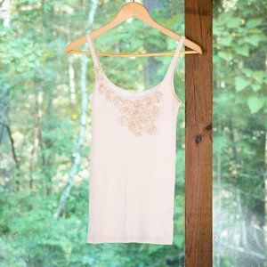 J. Crew 3D Rose Embellished Tank Top